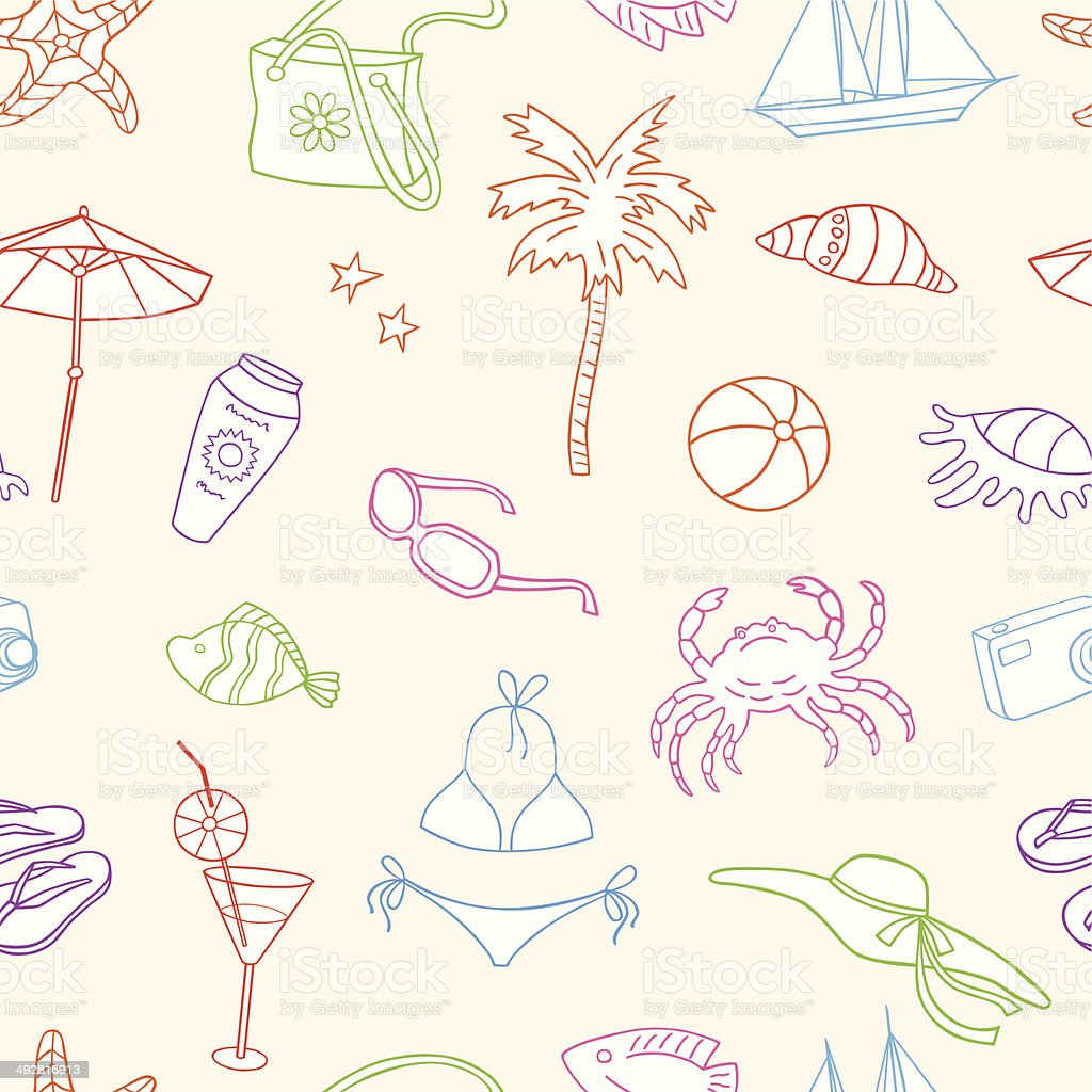 pattern of beach holiday royalty-free stock vector art