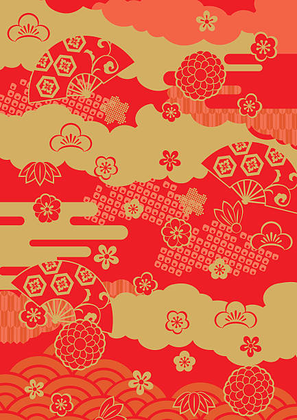 pattern of beautiful japanese - chinese new year stock illustrations