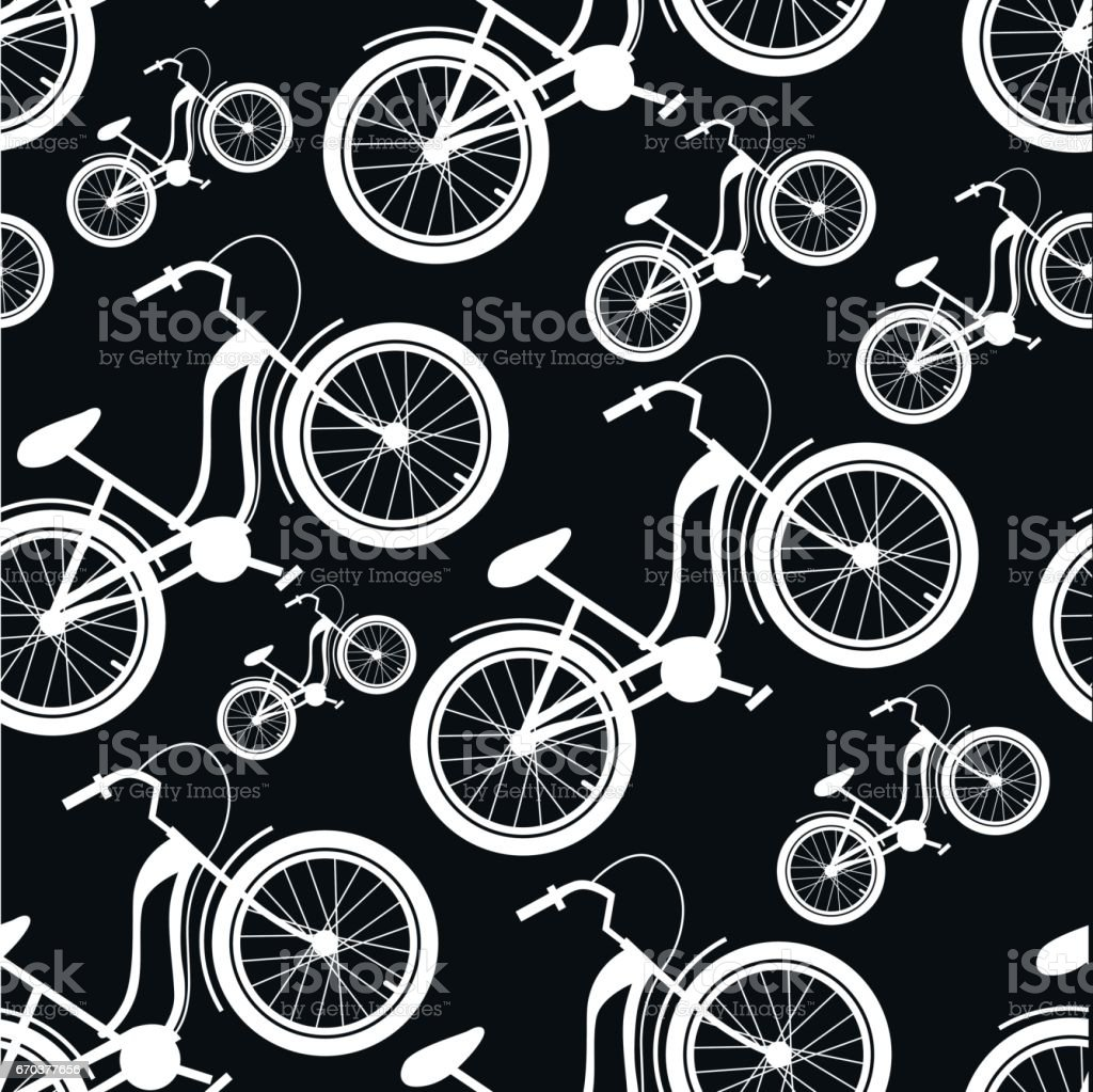Pattern of bicycles vector art illustration