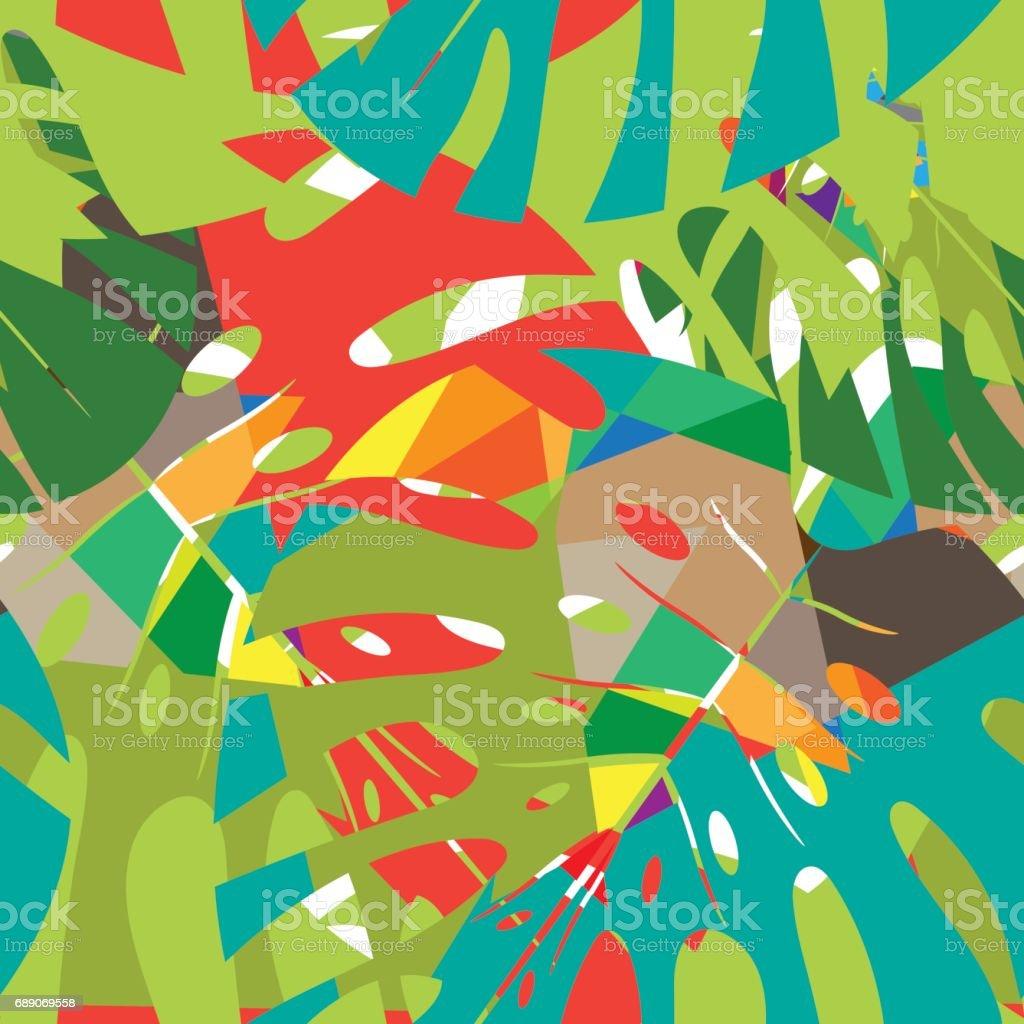 Ilustración de Patrón De Hojas Grandes Y Tropicales Coloridas Para ...