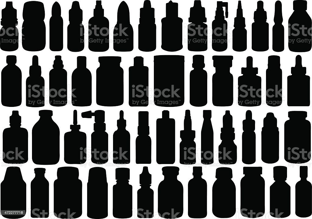 A pattern of black bottles on a white background vector art illustration