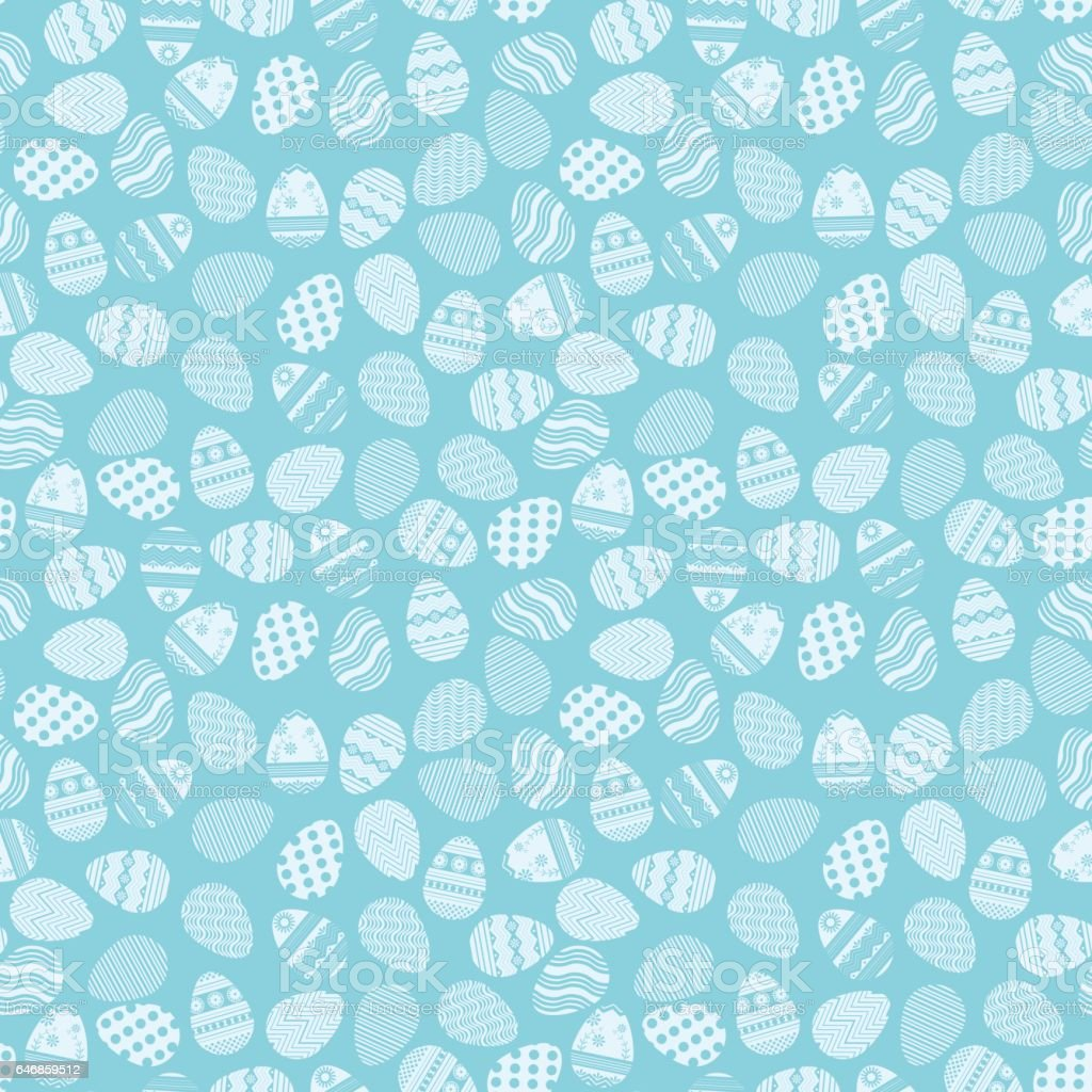Pattern of blue Easter eggs vector art illustration