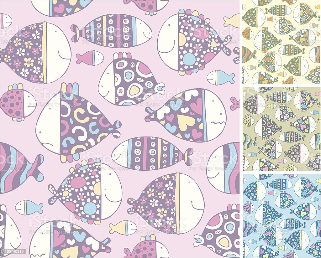 Pattern of cartoon fishes royalty-free stock vector art