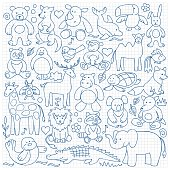 Pattern of children animal toys on squared paper
