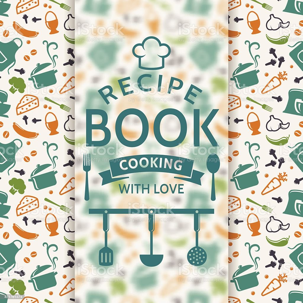 A pattern of cookery icons under a recipe book logo vector art illustration