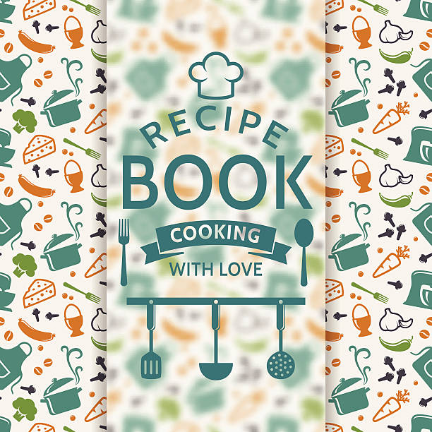 A Pattern Of Cookery Icons Under Recipe Book Logo Vector Art Illustration
