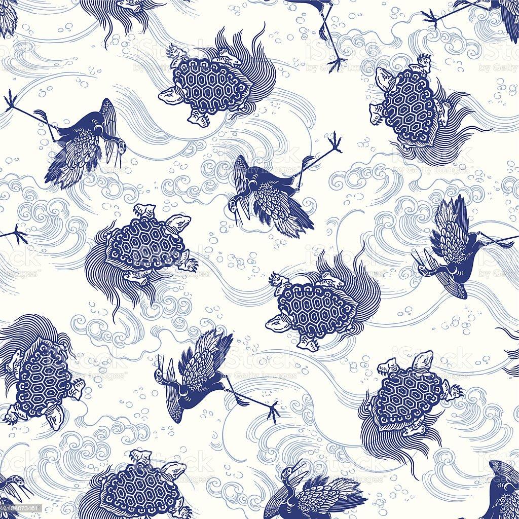 pattern of crane and tortoise vector art illustration
