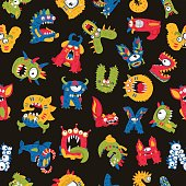 Seamless vector pattern of different monsters on a black background. Excellent print for children's t-shirt, packing paper, wallpaper. Alphabet made up of fictitious animals.