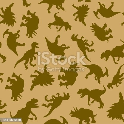 istock A pattern of drawn realistic silhouettes of dinosaurs in natural colors for print and web. Vector illustration. 1341078818