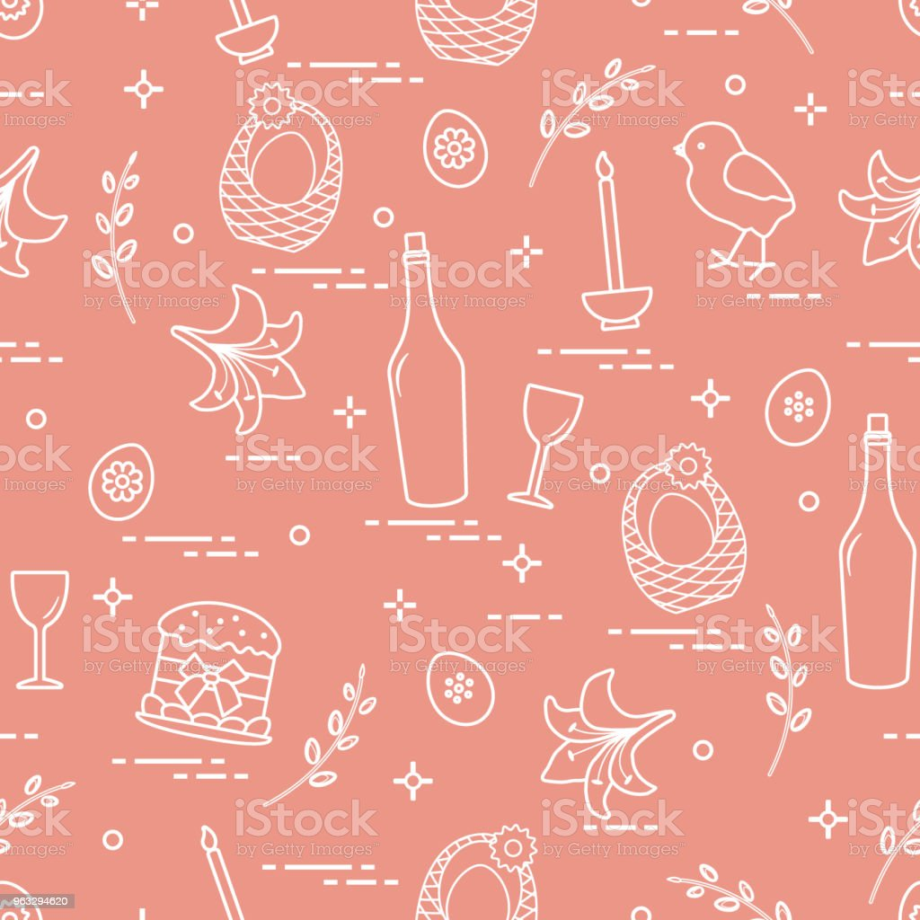 Pattern of Easter symbols: Easter cake, chick, lily, baskets, eggs and other. vector art illustration