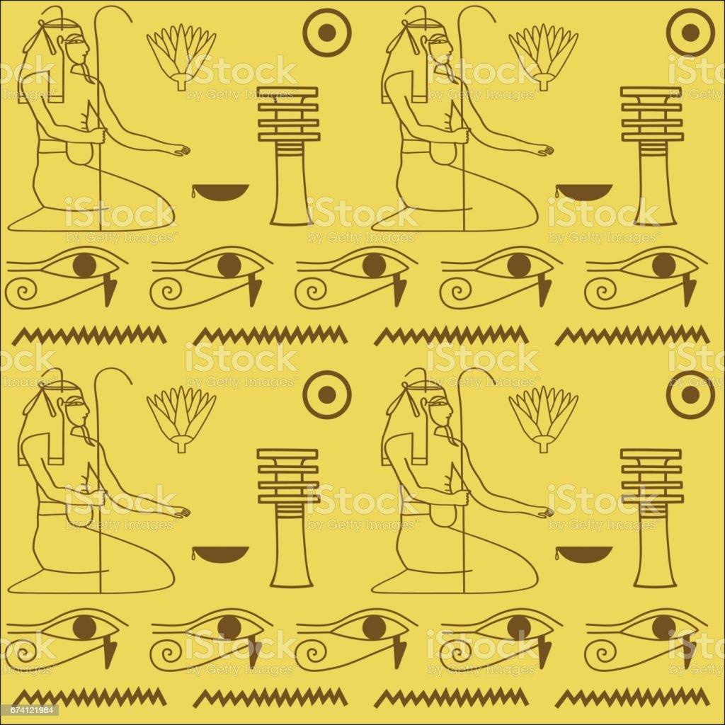埃及象形文字的圖案 免版稅 埃及象形文字的圖案 向量插圖及更多 中東 圖片