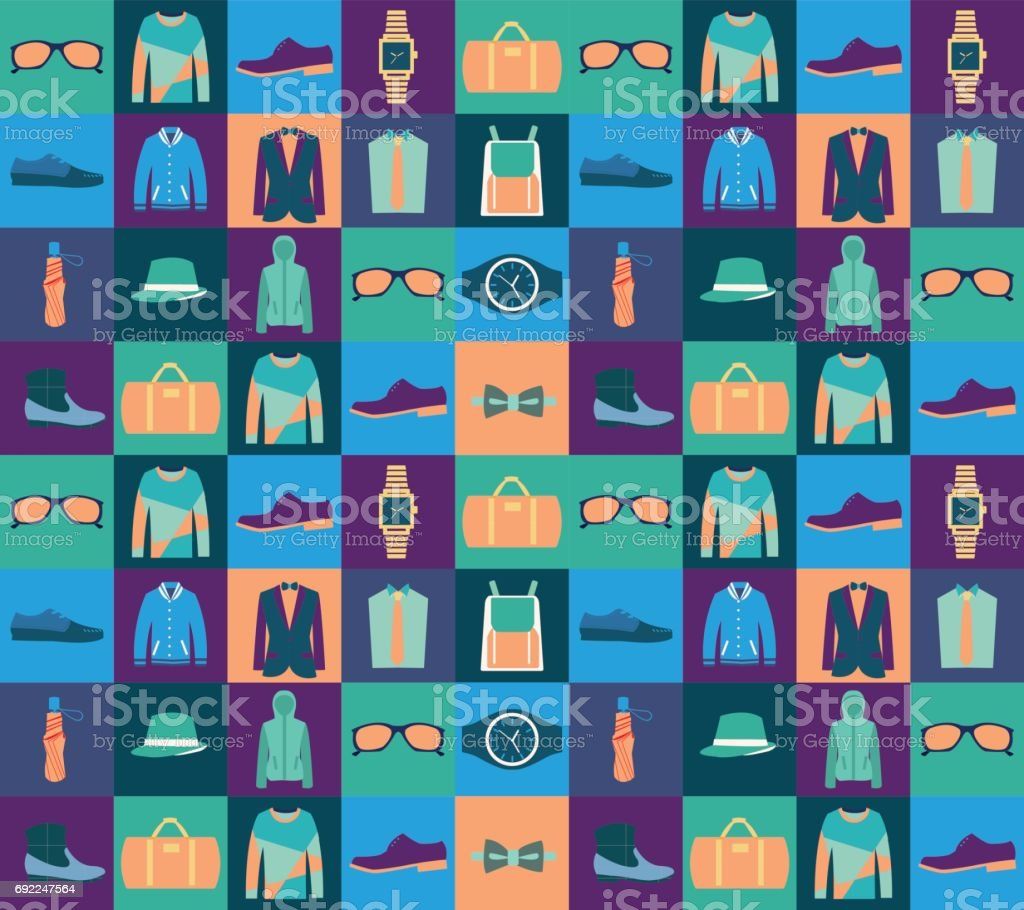 Pattern of fashionable mens wear background vector art illustration