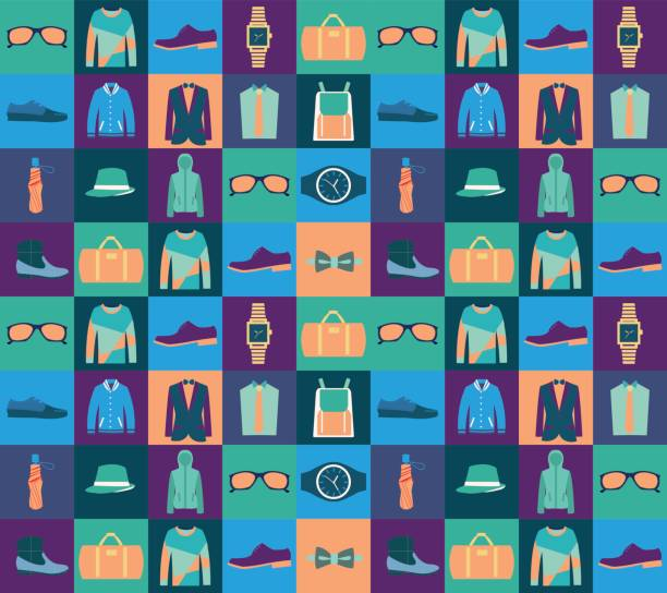 pattern of fashionable mens wear background - mens fashion stock illustrations, clip art, cartoons, & icons