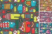 Vector seamless pattern of cartoon fishes