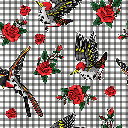 Pattern of flying bird and red roses stickers.