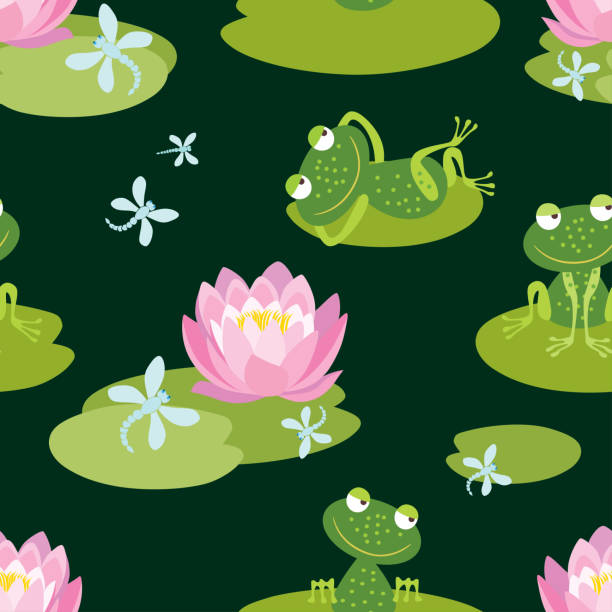 Pattern of funny frogs on a flowering pond Seamless background of a pond with flowering lilies and cheerful frogs. water lily stock illustrations