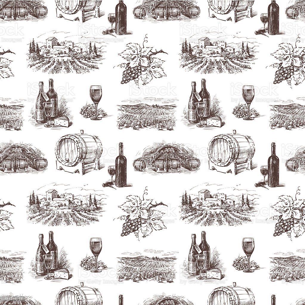 Pattern of grape wine vector art illustration