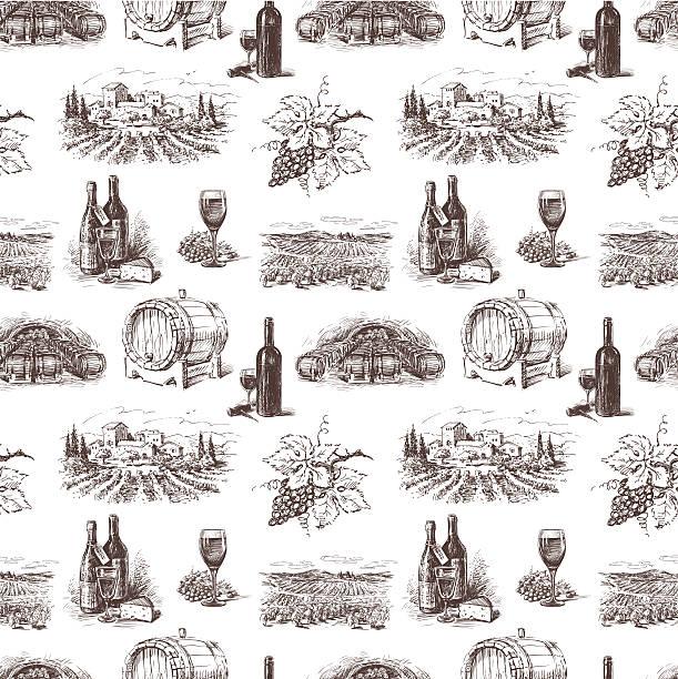 bildbanksillustrationer, clip art samt tecknat material och ikoner med pattern of grape wine - vineyard