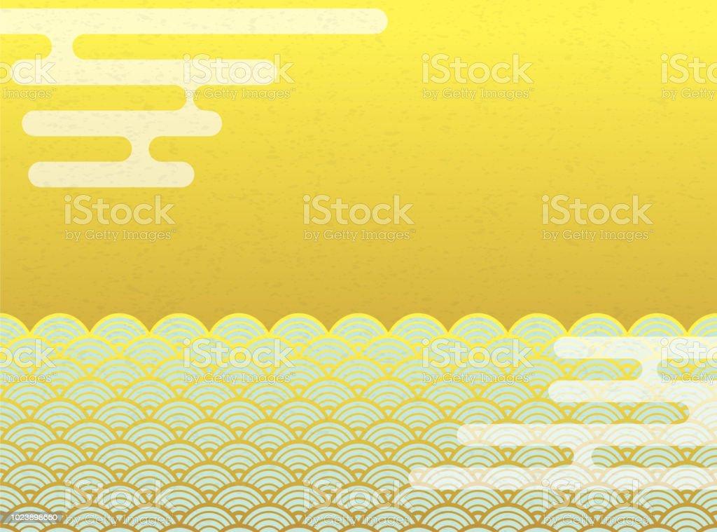 ヘイズと青海の波のパターン。日本の背景素材。 ベクターアートイラスト