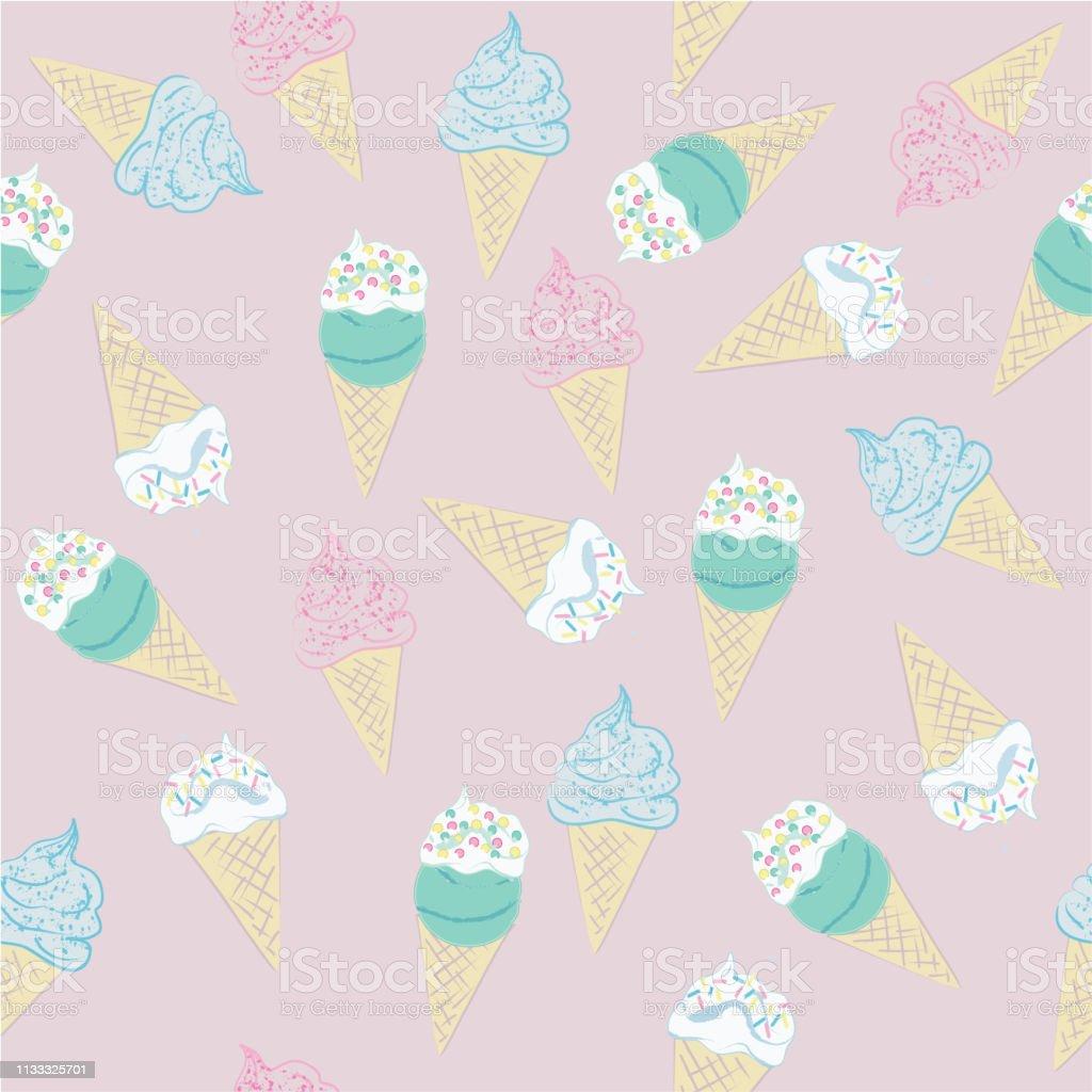Muster von Eiswafern in Pastellfarben. – Vektorgrafik