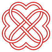 Pattern of intertwined hearts, vector knot weaving of hearts symbol of eternal love and friendship