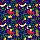 seamless pattern of lots of bright juicy fruits on a blue background