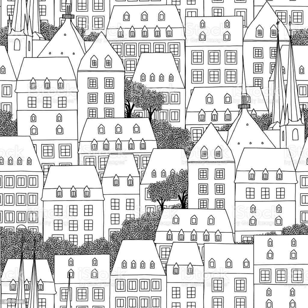 Pattern of Luxembourg houses vector art illustration
