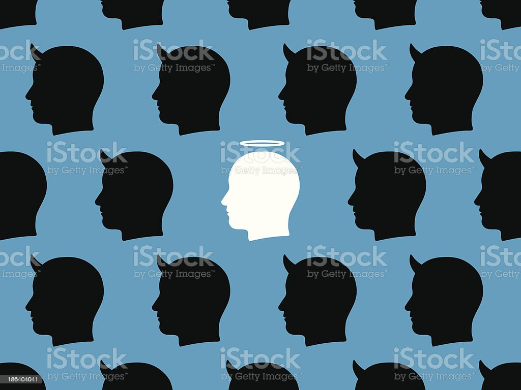 Pattern of male devils with a single angel royalty-free pattern of male devils with a single angel stock vector art & more images of angel