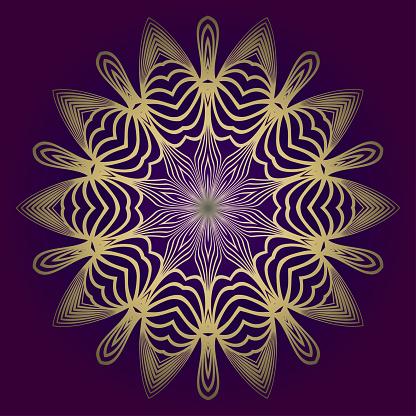 Pattern Of Mandala. Vector Illustration. Modern Decorative Floral Color Mandala. Decorative Cicle Ornament. Floral Design. Purple gold color