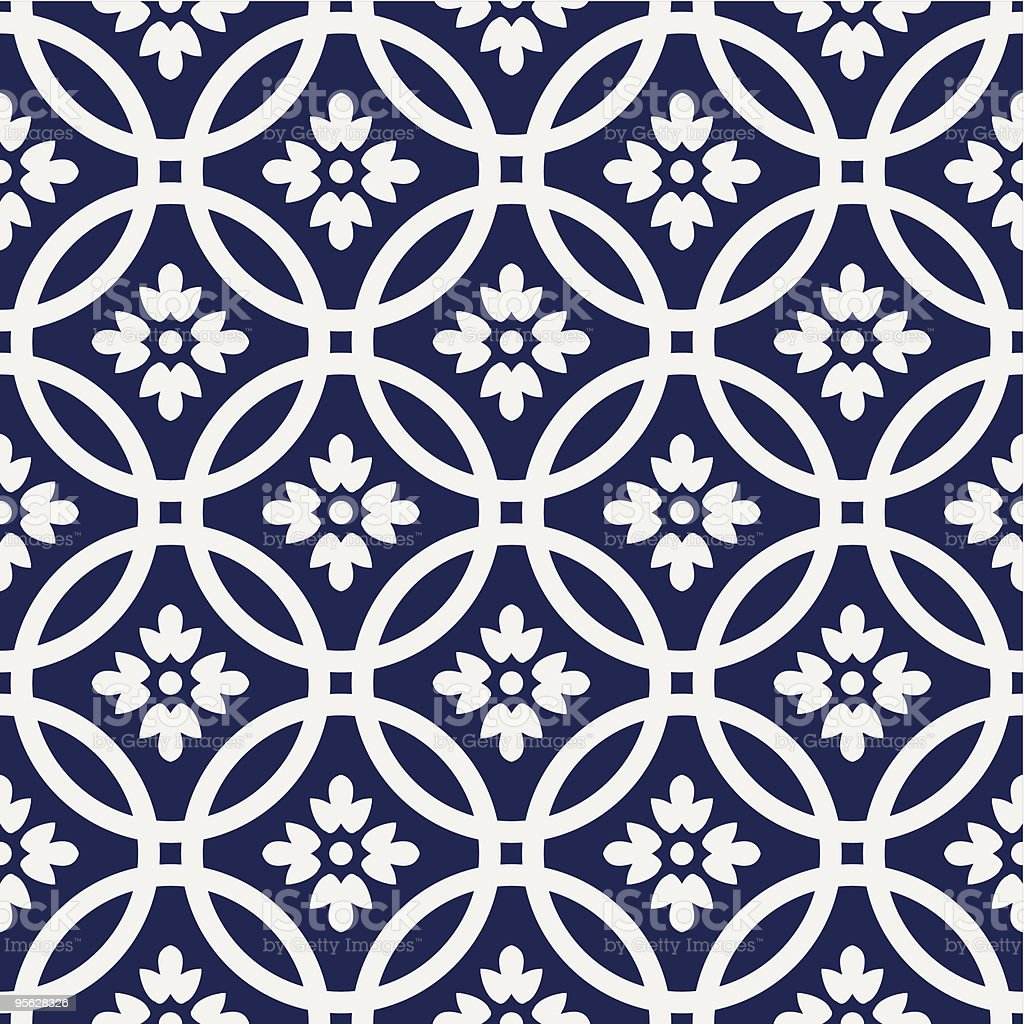 Pattern of navy and white interlocking circles and flowers vector art illustration