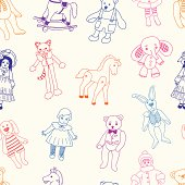 Vector pattern of the various vintage toys.