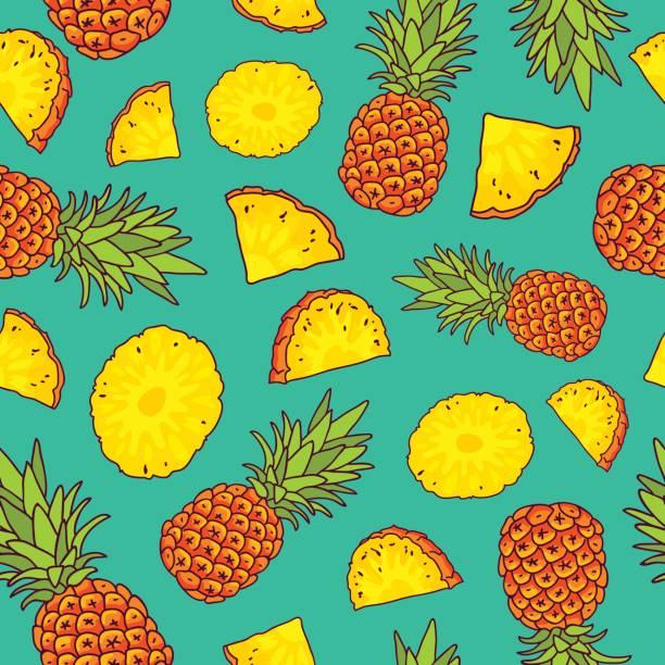 Pattern of pineapples. Paradise fruit vector art illustration