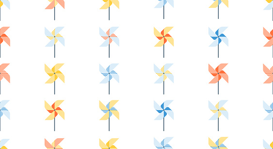 Pattern of pinwheel for web, print. Poster in origami style, games in park. Kids activity