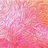 pattern of red pink curls, waves, watercolor abstract background, vector illustration