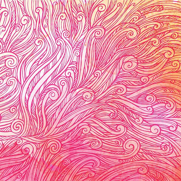 ilustrações, clipart, desenhos animados e ícones de padrão de cor-de-rosa vermelha ondas, ondas de fundo abstrato aquarela - texturas de pelo de animal