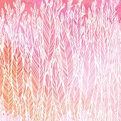 pattern of red pink leaves, grass, feathers, watercolor abstract background, vector illustration