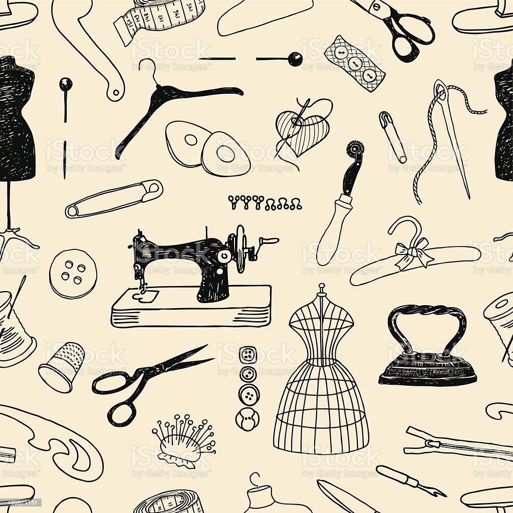 pattern of sewing vector art illustration