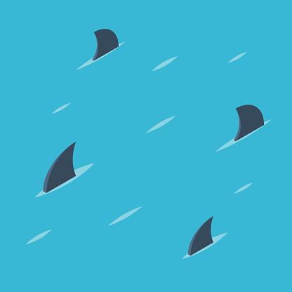 Pattern Of Shark Fins Stock Illustration - Download Image Now