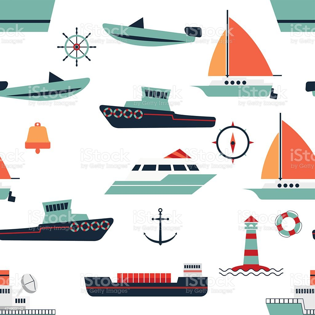 pattern of ships and boats vector art illustration