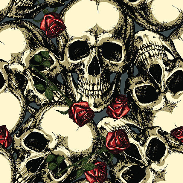 pattern of skulls with roses pattern of skulls with red roses goth stock illustrations