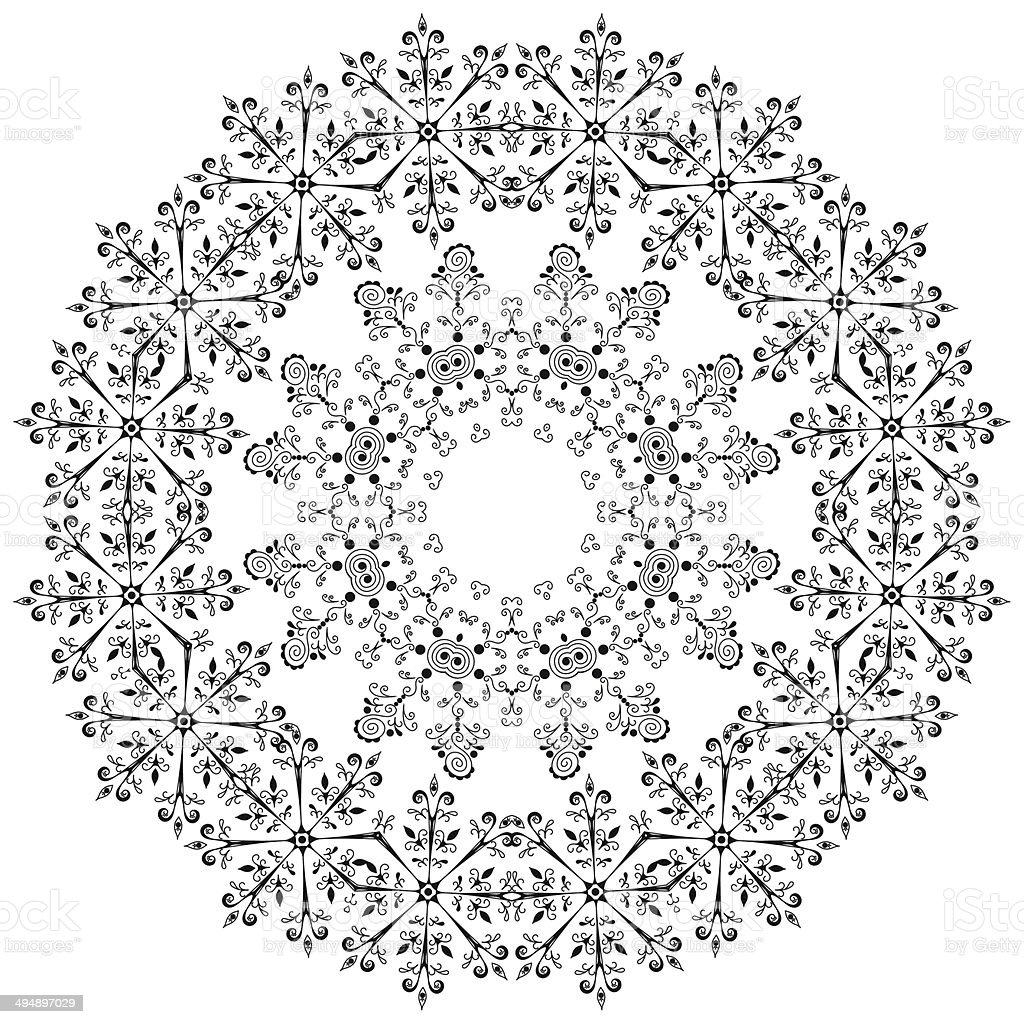 Pattern of snowflakes, contours royalty-free stock vector art