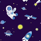 Pattern of space objects on dark blue background.