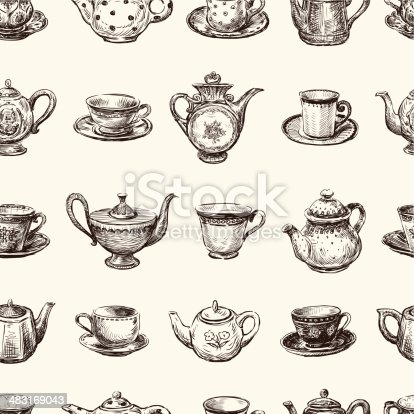 Vector pattern of the various hand drawn teacups and teapots.