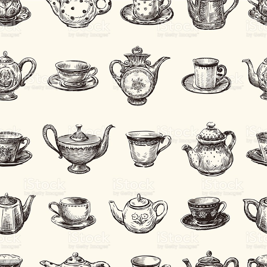 pattern of teacups and teapots vector art illustration