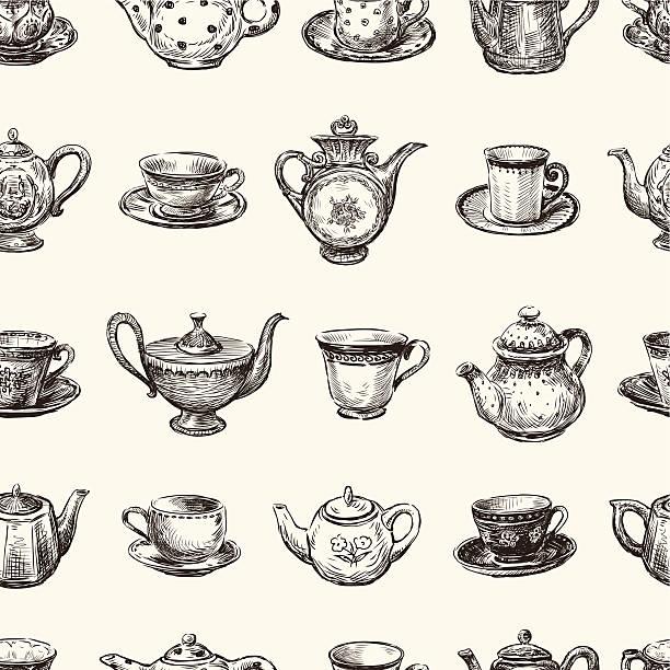 stockillustraties, clipart, cartoons en iconen met pattern of teacups and teapots - theekop
