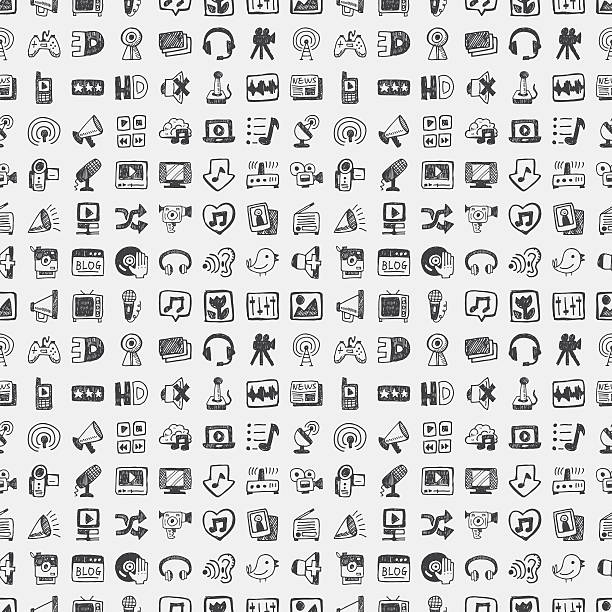 pattern of technology, media and social icons - music and entertainment icons stock illustrations