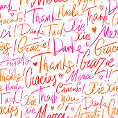 Thank you in different languages of the world. Seamless vector pattern of Thanks