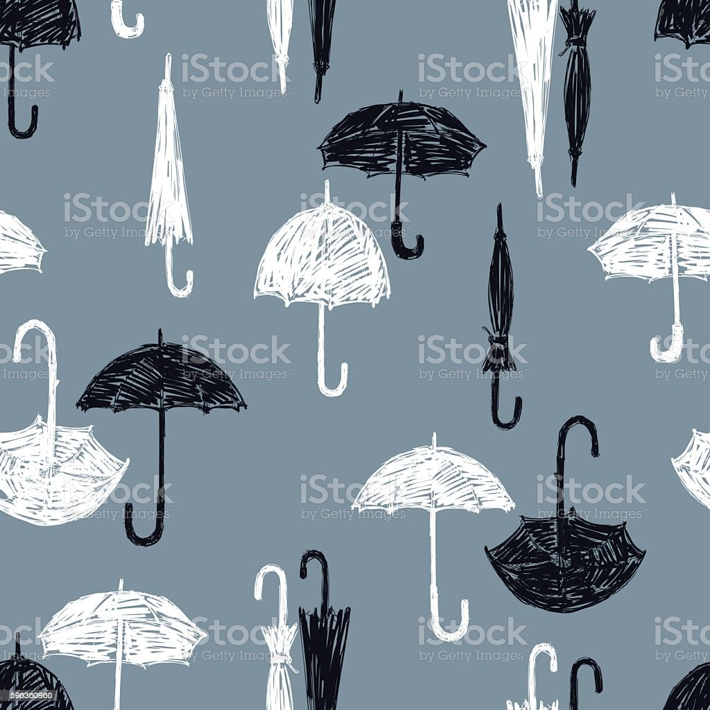 pattern of the black and white umbrellas royalty-free pattern of the black and white umbrellas stock vector art & more images of abstract