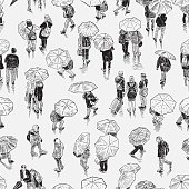Vector illustration of the townspeople walking in the rain.
