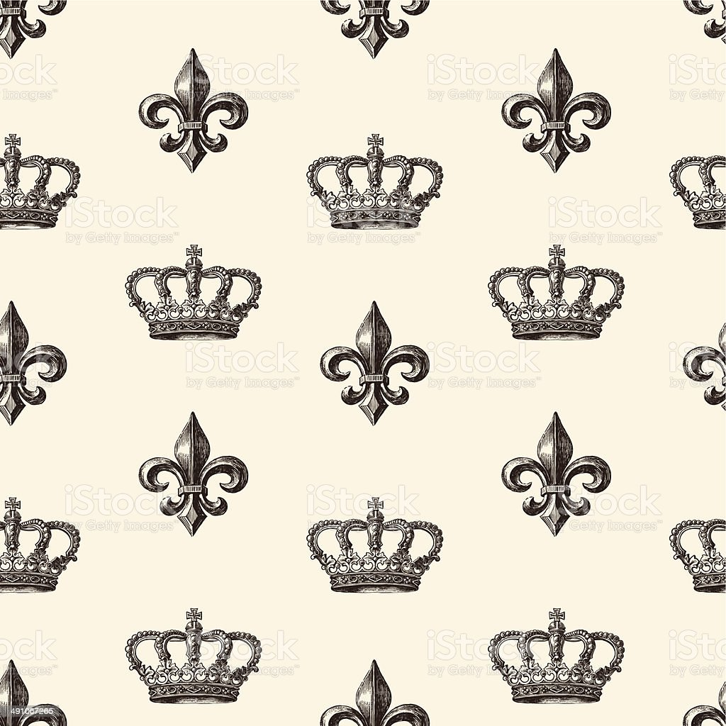 pattern of the crown and french lily vector art illustration